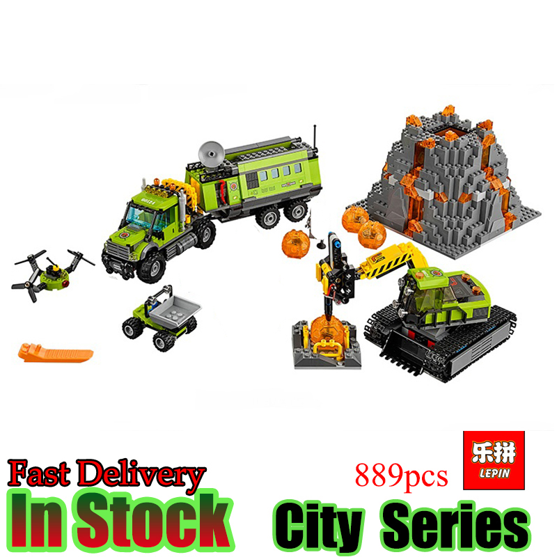 LEPIN 02005 City series 889Pcs Volcanic expedition base  Model Building blocks Bricks Compatible 60124 Toy for Gift model building blocks kits compatible with lego city 60123 lepin 02004 helicopter volcanic expedition brick model building toys