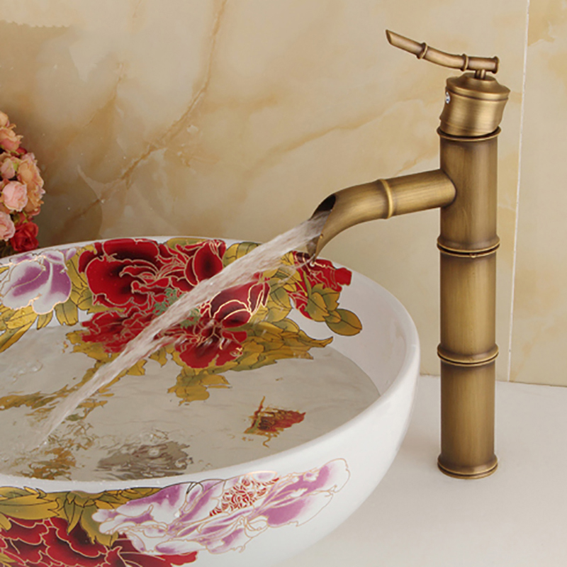Antique Bamboo Tall Bathroom Faucet Single Handle Bamboo Water Tap Antique bronze finish Brass Basin Sink Tall Basin Faucet new bathroom antique brass tall single blue and white porcelain handle basin faucet g 902