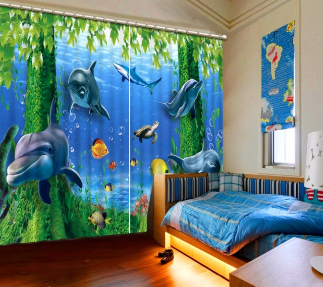 Children Room Curtains Dolphin Printing Curtains For Living Room Bedroom  Hooks 2 Pieces Curtains For Kids
