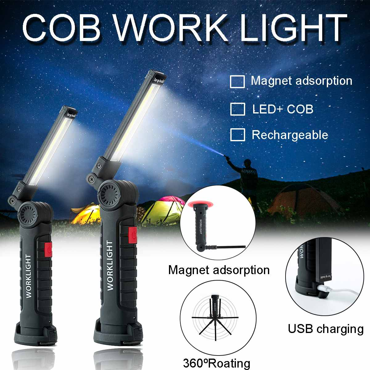 10W COB LED Flashlight USB Rechargeable Magnetic Torch Flexible Cordless Worklight Portable Spotlights Outdoor Emergency Lights