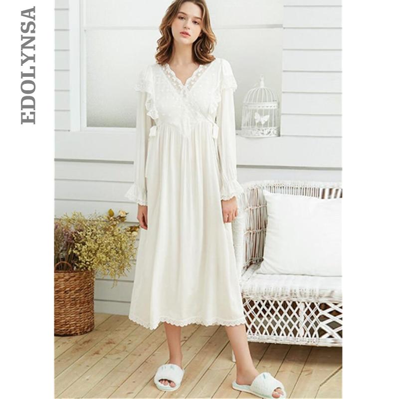 Elegant Women Autumn Clothes Home Wear Sleep Shirt Night Dress Vintage Long Cotton Nightgown Plus Size