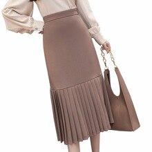High waist Chiffon maxi skirts womens 2018 spring new elegant slim pleated skirt female patchwork long saia ladies work jupe