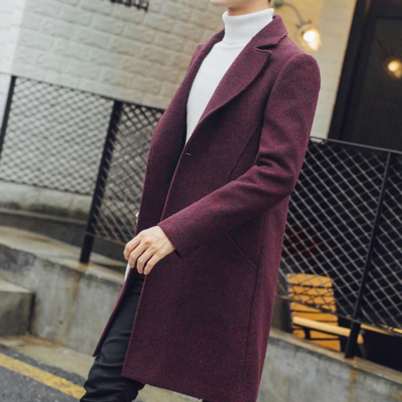 Nuevo gabardina larga para hombre, gabardina de lana de moda para hombre, cortavientos, sobretodo Steampunk para hombre, abrigos casuales C75NF21 - 3