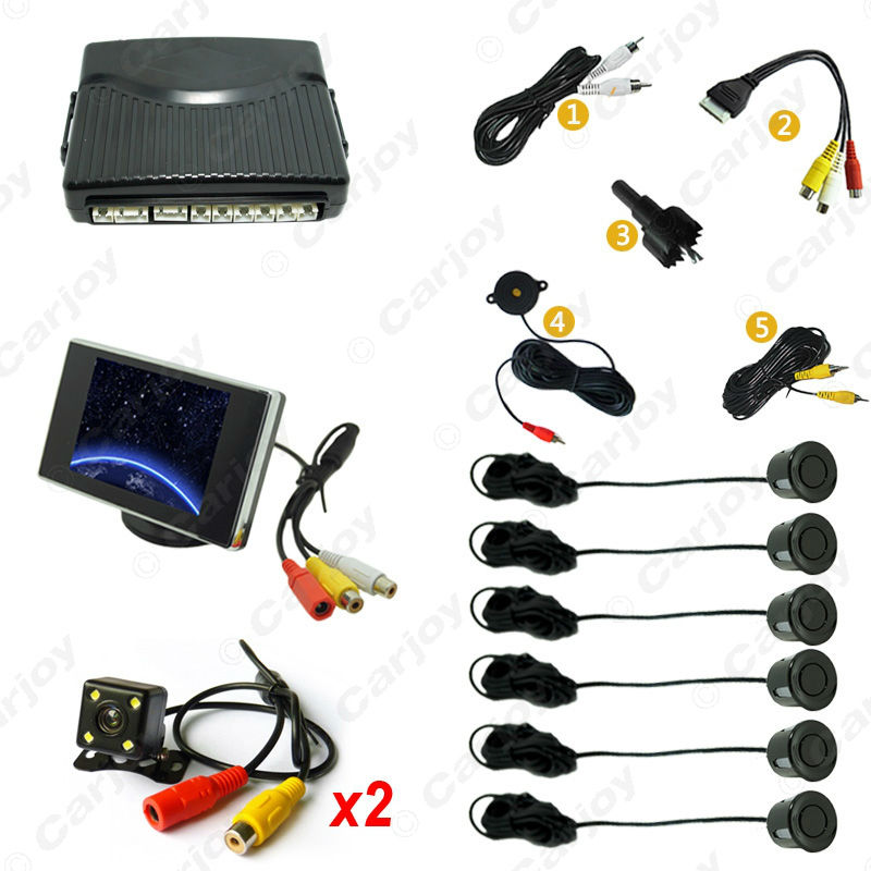 Car 6 Sensors/4-LED Camera/Monitor Front&Rear Dual View Parking Sensor Backup Radar System #CA4447