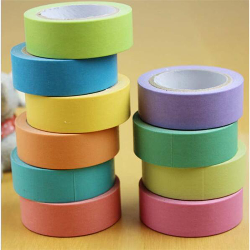 15mm*10m Hot Sale New Macaron Candy Color Decorative Masking Tapes School Supplies Solid Color Slim Paper Tape Washi Tape 1 PCS