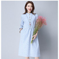 2017 Spring New Long Sleeve Striped Shirts Dress Women Fashion Linen Midi Dresses Ladies Retro Casual