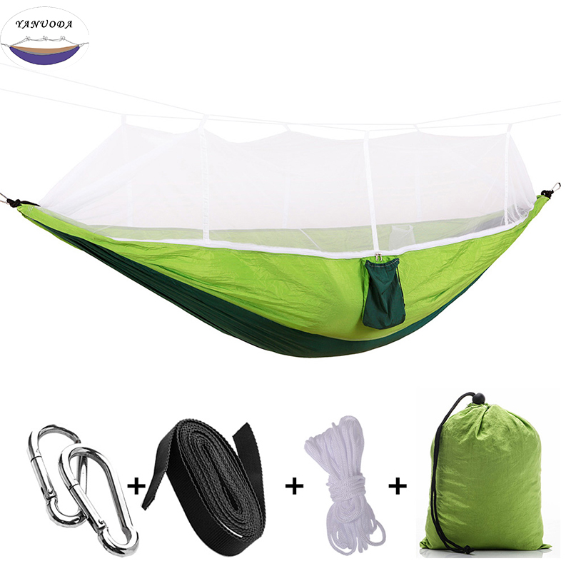 Popular Brand 260x140cm Portable Parachute Fabric Camping Hammock Hanging Bed With Mosquito Net Sleeping Hammock Outdoor Hamaca Warm And Windproof Camping & Hiking Sleeping Bags