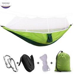 Rede portátil de alta resistência pára-quedas pendurado cama com mosquiteiro para o transporte da gota ao ar livre viagem acampamento rede cadeira