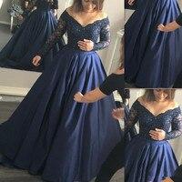 2017 Más El Tamaño de Vestidos de Baile Oscuro Royal Blue Satin Lace fuera Del Hombro Mangas Largas Formales de Noche DressParty Vestidos de Encargo hecho