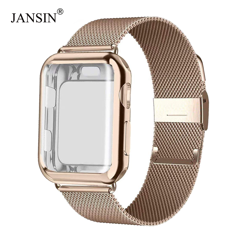 Milanese Loop band with case For Apple Watch Series 5/4/3/2 38mm 42mm 40mm 44mm Stainless Steel Strap Wrist Bracelet for iwatch image