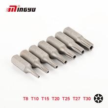7pcs 25mm Cacciavite Torx Bits Con Foro T8 T10 T15 T20 T25 T27 T30 1/4 Pollici Hex Gambo cacciavite elettrico Star Bit Set