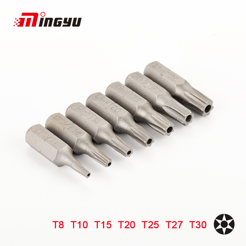 7pcs 25mm Torx Screwdriver Bits With Hole T8 T10 T15 T20 T25 T27 T30 1/4 Inch Hex Shank Electric Screw Driver Star Bit Set