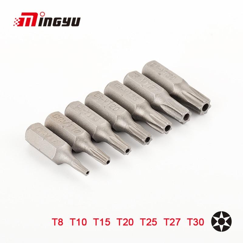 7pcs 25mm Torx Screwdriver Bits With Hole T8 T10 T15 T20 T25 T27 T30 1/4 Inch Hex Shank Electric Screw Driver Star Bit Set