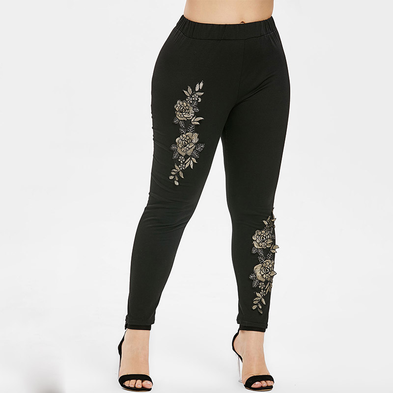 Rosegal Floral Embroidery Plus Size Elastic Waist   Leggings   Women Pants Black Cotton High Waist Pencil Pants 2019 Ladies Trousers