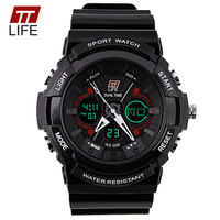 Top Brand TTLIFE Fashion Cool Black Mens Wristwatches Fashion Large Face Digital Swimming Climbing Outdoor Man
