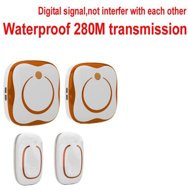 Door Ring Bell 2 Emitter+2 Receivers Waterproof 280M Long Range Wireless  Doorbell,