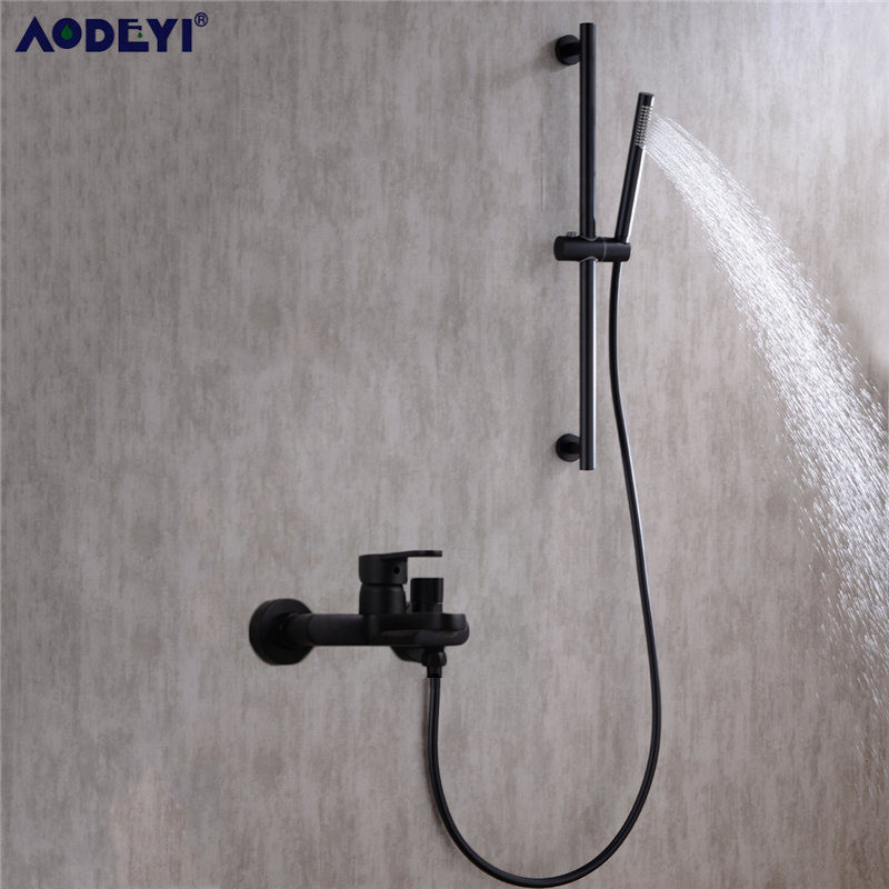 Black Shower Mixing Faucet Brass Wall Mounted Basin Faucet Single Handle Bathroom Mixer Tap & Shower Head Sets &Shower Slide BarBlack Shower Mixing Faucet Brass Wall Mounted Basin Faucet Single Handle Bathroom Mixer Tap & Shower Head Sets &Shower Slide Bar
