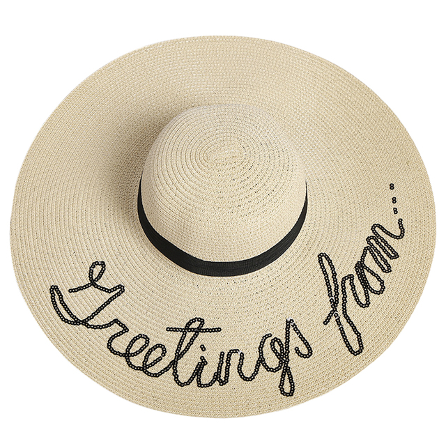 New Arrival Outdoor Letter Embroidery Cap Big Brim Ladies Summer Straw Hat  Youth Hats for Women 3f6ddc8d8fc9