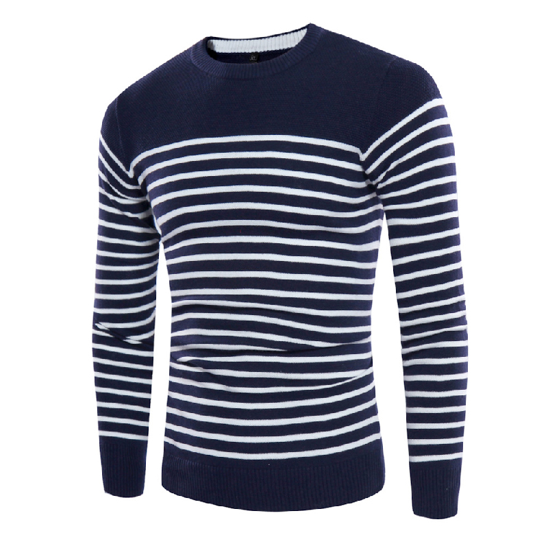 Autumn Winter Striped Pullover Sweater Men's Casual Knitted Sweater Male Fashion O-Neck Cotton Plus Size Pullover Sweater Men