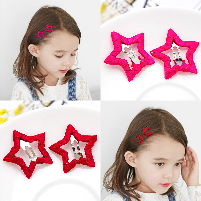 2PCS/Lot Cute Girls Candy Colors Star Safety HairPins Children Hairgrips Baby Hair Clips Headband Headwear Hair Accessories trail order 10pcs lot 22 colors fashion baby girl mini chiffon flowers hair clips sweet girls hairpins for kids hair accessories