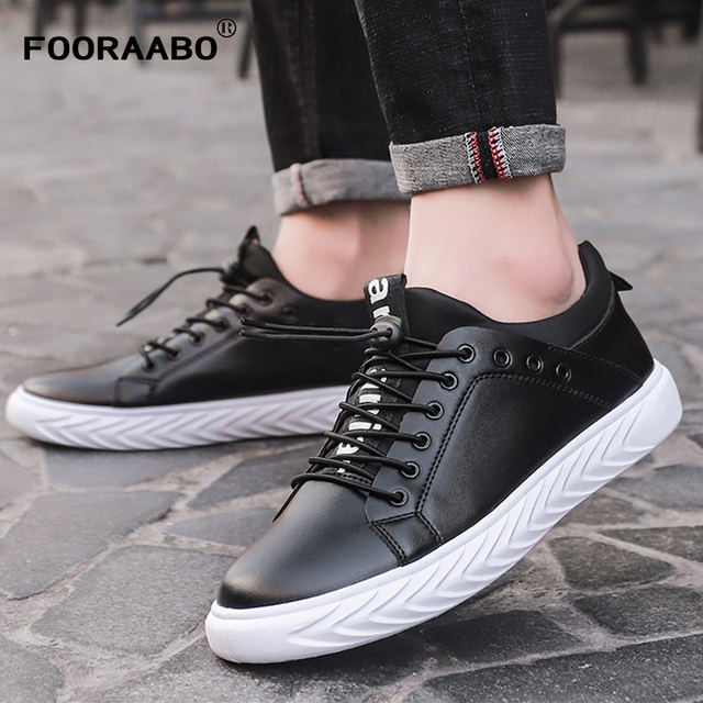 2018 Fashion Men Casual Leather Shoes Black Spring Male Designer Shoes  Non-slip Rubber Mens Sneakers Flat Shoes Man Footwear 3d057a785e76