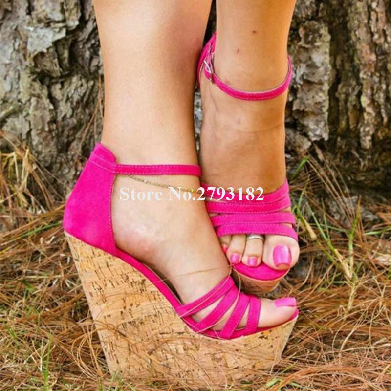 Bayanlar Güzel Moda Süet Deri yüksek platformlu dolgu topuklu sandaletler Gül Kırmızı Sapanlar Çapraz Yüksekliği Artan Takozlar Elbise Topuklu