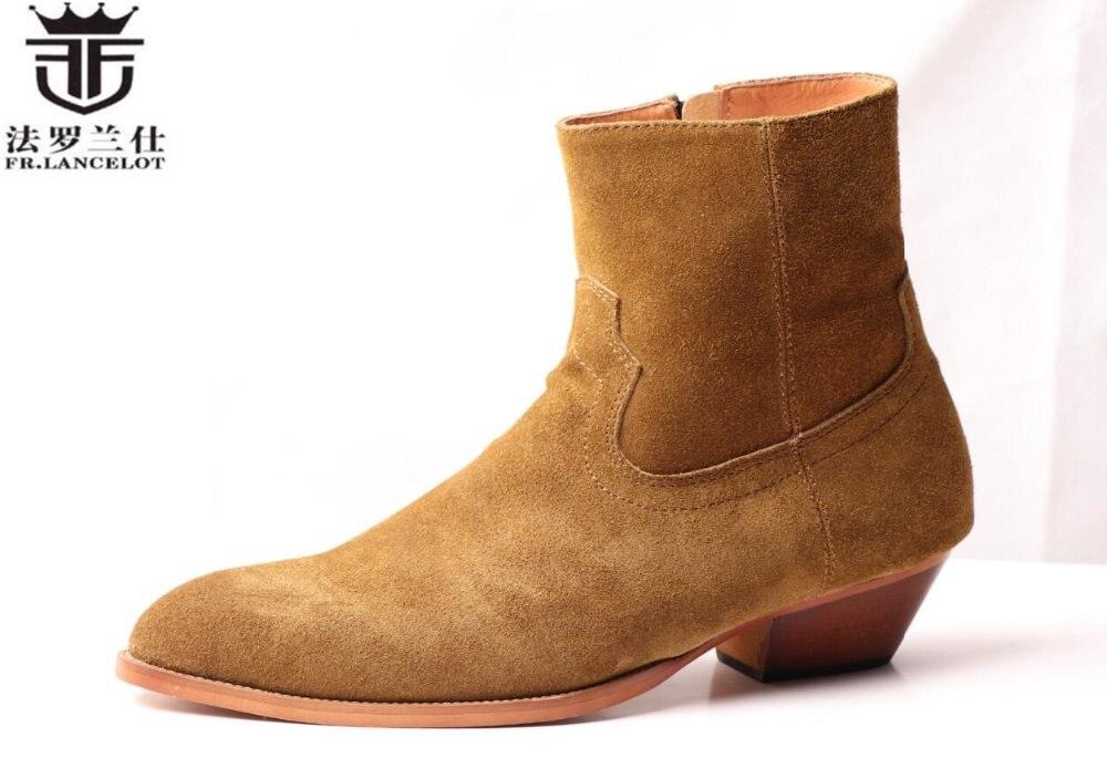FR botas de cuero de gamuza real para hombre, botas de estilo británico con cremallera hasta el tobillo, Zapatos altos con tacón med para hombre botas
