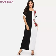 Muslim Floral Embroidered MAXI Dress Black and White Short-sleeve Pocket Vintage Women Casual Holiday Office Robe Femme