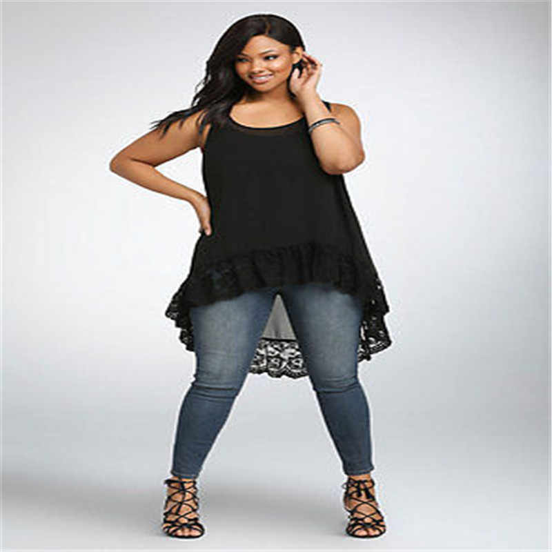 7d0cb6965ec ... Summer Women Sexy Plus Size Casual Halter Tops Vest Blouse Chiffon Sleeveless  Shirt Plus Size Black ...