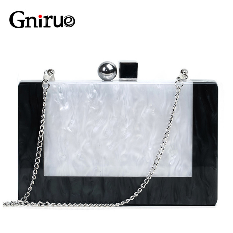 Casual Clutch Wallet Wedding-Handbag Marble Acrylic Small White Fashion Woman Luxury