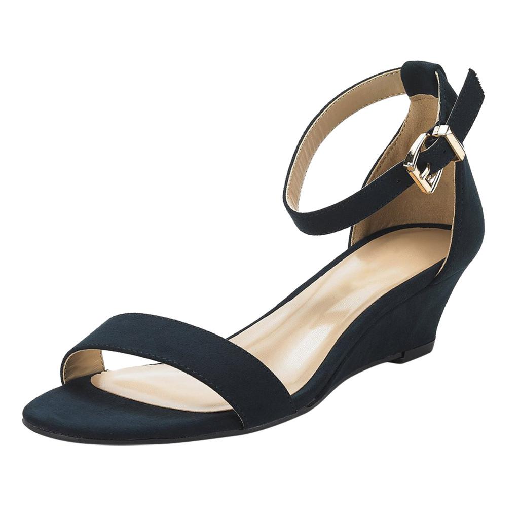 sandals women Ladies Fashion Solid Buckle Ankle Strap Wedges Sandals Casual Shoes Zapatos De Mujer Sapato chaussures Feminino