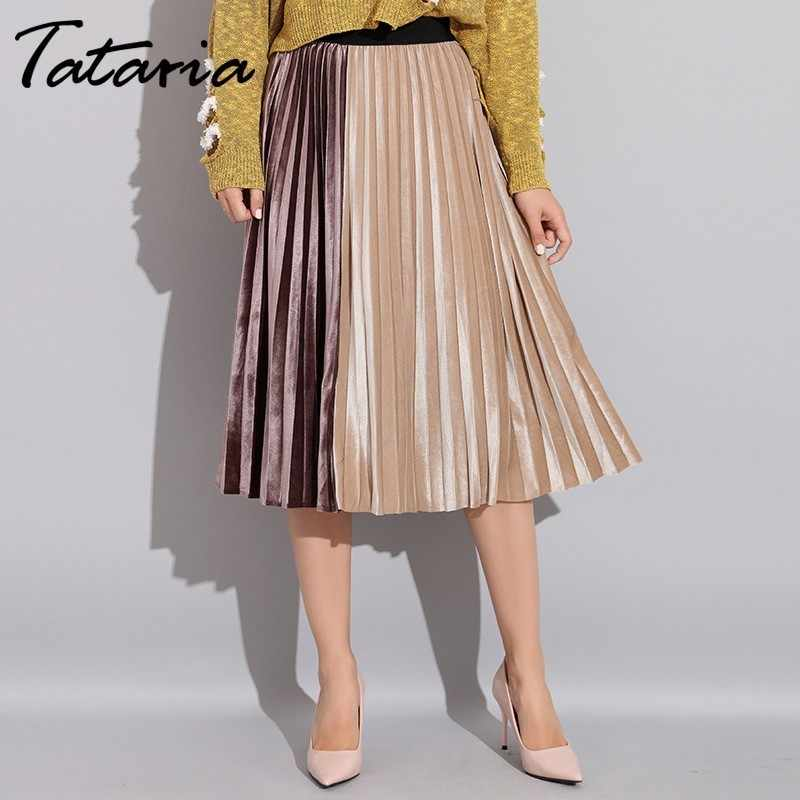 Tataria Women's Skirt Pleated Velvet Spring Autumn 2019 High Waist Patchwork Skirts For Women Velvet Pleated A Line Midi Skirt