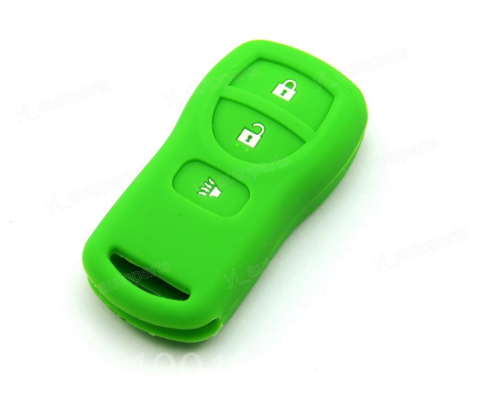 Green Silicone Case Cover Fit For Nissan Armada Versa Titan Frontier Xterra Quest Pathfinder Quest Remote Key 3 Buttons 3BT