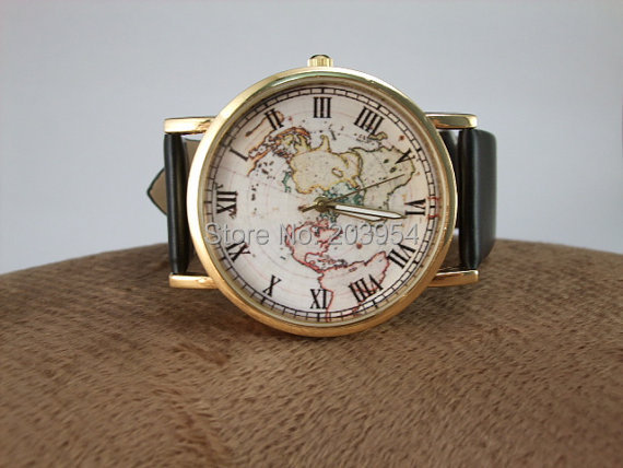 new brand earth world map watches 1pcslot quartz watch mens womens colors pu leather
