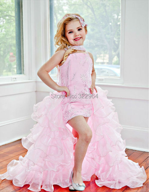 757c303a6 Eden Wood Strapless Sheath Organza Hi lo Little Girl s Pageant ...