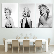 Canvas painting wall art home decor Sexy Marilyn Monroe Black and White 3 panel Nordic modern For living room