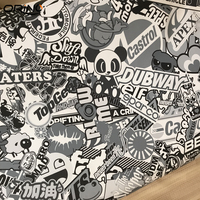 Black & White Bomb Vinyl Sticker on Car DIY Graffiti Sticker Bomb Wrap Car Sticker Car Decals Car Styling Wrapping ORINO WRAPS