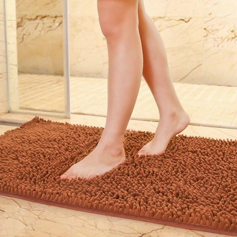 Custom 80 120cm New Chenille Bathroom Mats Large Super Absorbent Water Carpet Non Slip Mat Kitchen