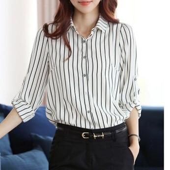 c069eed08ffed Stripe Shirts Office Ladies Formal Black And white Long-sleeve Work Wear  Blusa Feminina S-3XL Plus Size Striped Chiffon Blouse