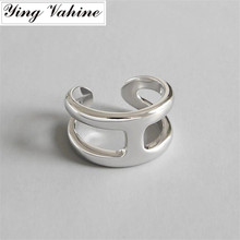 Ying vahine, новинка, роскошный бренд, 925 серебряные ювелирные изделия, Буква H, открытые кольца для женщин, bague femme argent, 925, подарки