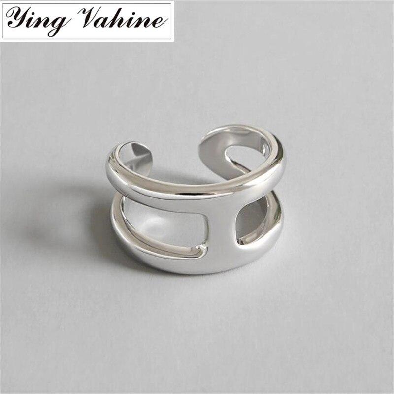 Ying Vahine nouvelle marque de luxe 925 bijoux en argent lettre H anneaux ouverts pour les femmes bague femme argent 925 cadeaux