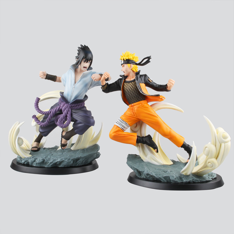 Anime Naruto Uchiha Sasuke Fighting with Uzumaki Naruto PVC Action Figure Collection Model Kids Toys Doll 26CM 16cm 1 10 pvc japanese anime naruto action figure obito uchiha sasuke kakashi madara gaara orochimaru akatsuki nagato gs185