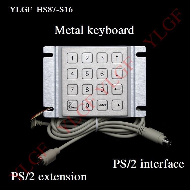 Metal Keyboard Up Down Venstre Højre Ps 2 Interface Ylgf 16 Nøgle Vandtæt Ip65 Støv Anti Violence Rustfrit Stål Ring