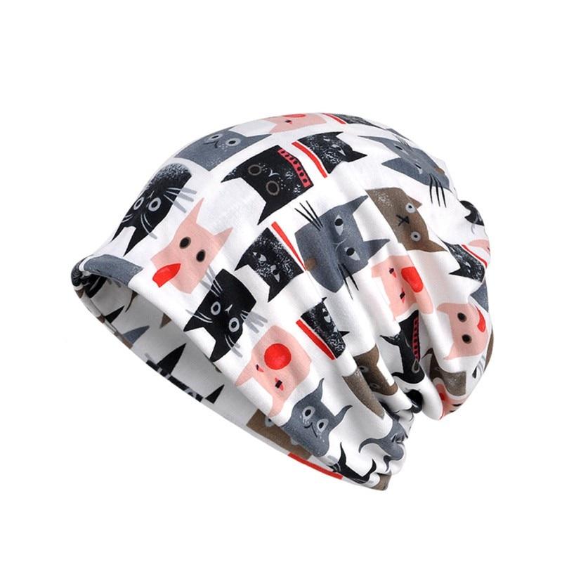 2 en 1 gorro deportivo bufanda con estampado de gato parasol transpirable esponjoso elástico gorro de algodón calentador de cuello senderismo sombreros de viaje