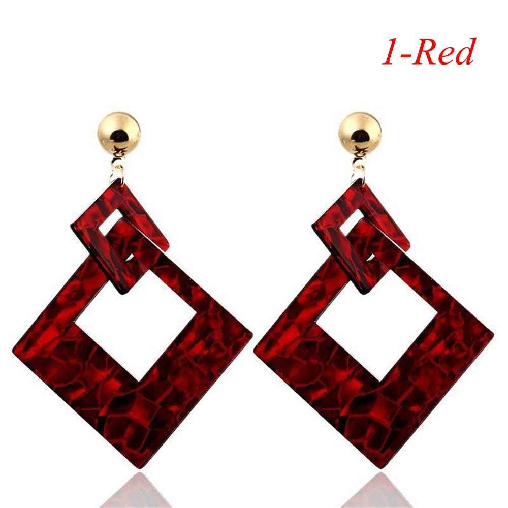 2018 Fashion Square Acrylic Drop Earrings For Girls Vintage Dangle Earrings For Women Statement Jewelry Wholesale Birthday Gift