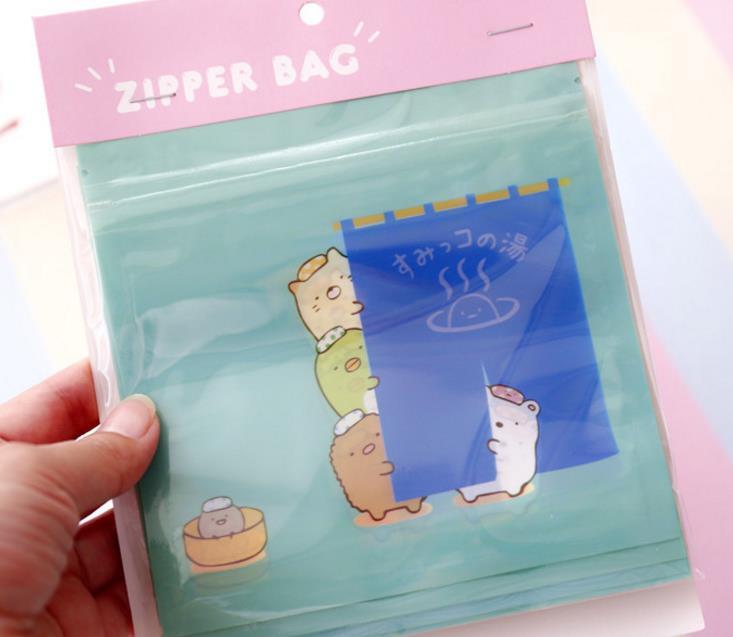 Image 5 - 1pack cute Japanese Anime Sumikko Gurashi Corner Creature Self sealing bag Anime Cosmetics Travel storage bag Figure Toys-in Action & Toy Figures from Toys & Hobbies