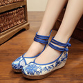 Chinese Embroidered Blue And White Porcelain Patchwork Shoes  5Cm Wedges