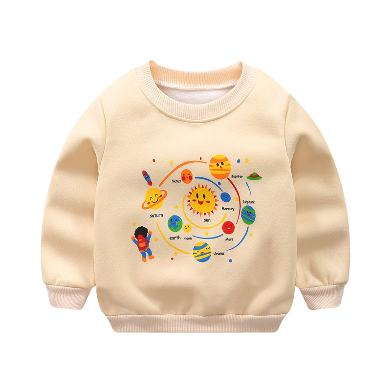 Children's Sweatshirts Baby Girls Clothing Autumn Winter Cartoon Models Boy Plus Velvet Thick Sweater Girl Long-sleeved T-shirt(China)