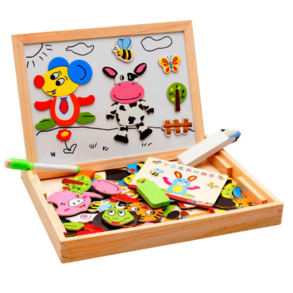 New Arrival Drawing Writing Board Magnetic Puzzle Double Easel Kid Wooden Toy Gift Children Intelligence Development Toy