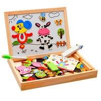 New Arrival Rysunek Dzieciak Pisanie Pokładzie Puzzle Magnetyczne Podwójne Sztalugi Drewniane Zabawki na Prezenty Dla Dzieci Intelligence Development Toy